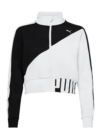 PUMA Train Stretch Knit Track Jacket Svetari Collegepaita Valkoinen PUMA PUMA BLACK-PUMA WHITE