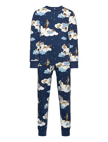Polarn O. Pyret Pyjamas Aop School Pyjamasetti Pyjama Sininen Polarn O. Pyret ENSIGN BLUE