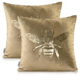 AmeliaHome Bee -tyynynpäällinen, kultainen, 45 x 45 cm, 2 kpl