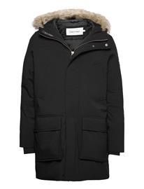 Calvin Klein Premium Canvas Fur Hood Parka Parka Takki Musta Calvin Klein CK BLACK