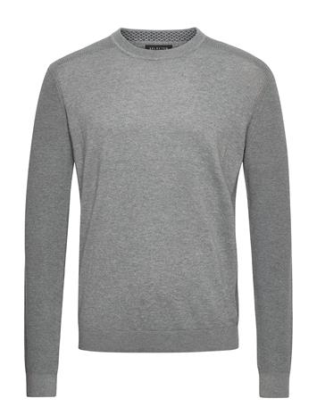 Selected Homme Slhallen Crew Neck B Camp Neulepaita Pyöreä Kaula-aukko Harmaa Selected Homme MEDIUM GREY MELANGE