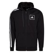 adidas Huppari 3-Stripes Tape Full Zip - Musta/Valkoinen