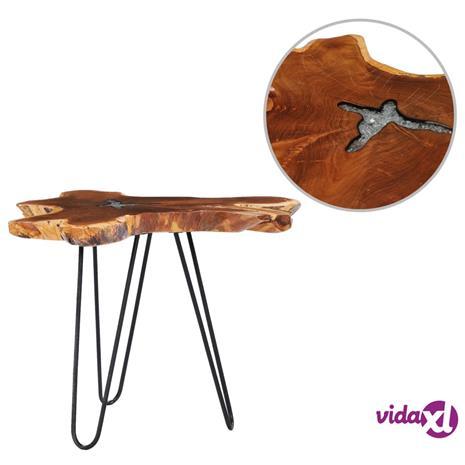 vidaXL Sohvapöytä 70x45 cm täysi tiikki ja polyesterihartsi