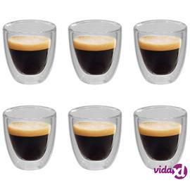 vidaXL Tuplaseinäiset lämpölasit espressokahville 6 kpl 80 ml