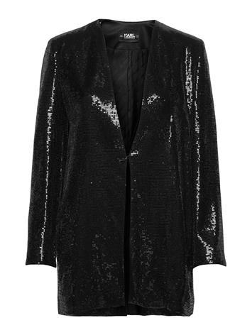 Karl Lagerfeld Sequins Jacket W/ Belt Blazers Over D Blazers Musta Karl Lagerfeld BLACK