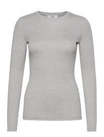 MOSS COPENHAGEN Mona Lyocell O Ls Top T-shirts & Tops Long-sleeved Harmaa MOSS COPENHAGEN LGM