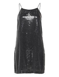 Calvin Klein Jeans Sequin Logo Strap Dress Lyhyt Mekko Musta Calvin Klein Jeans CK BLACK
