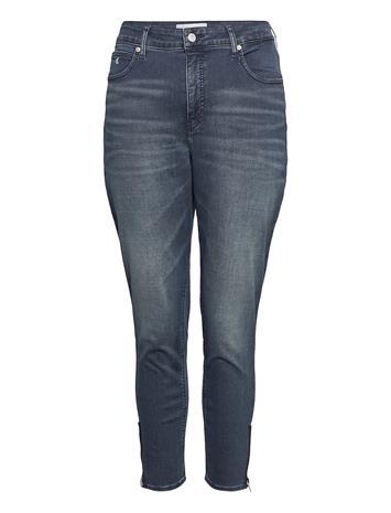 Calvin Klein Jeans High Rise Skinny Ankle Skinny Farkut Sininen Calvin Klein Jeans BB234 - BLUE BLACK LOGO ZIP HE