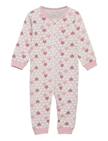 Fixoni Infinity Nightsuit - Oekotex Pyjama Sie Jumpsuit Haalari Vaaleanpunainen Fixoni ROSE DREAM