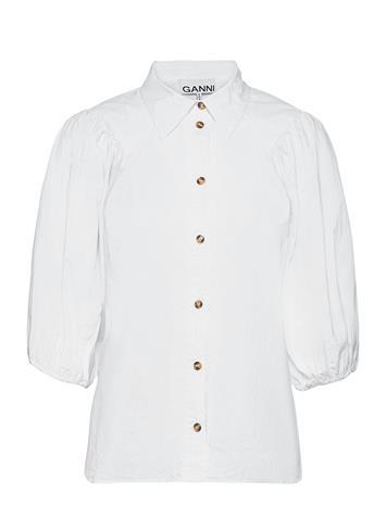 Ganni Cotton Poplin Blouses Short-sleeved Valkoinen Ganni BRIGHT WHITE