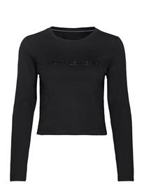Calvin Klein Jeans Shiny Inst Ls Crop Tee Crop Tops Musta Calvin Klein Jeans CK BLACK