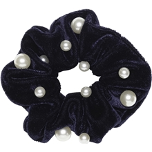 Velvet Scrunchie With Pearls Navy