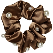 Satin Scrunchie With Pearls Copper