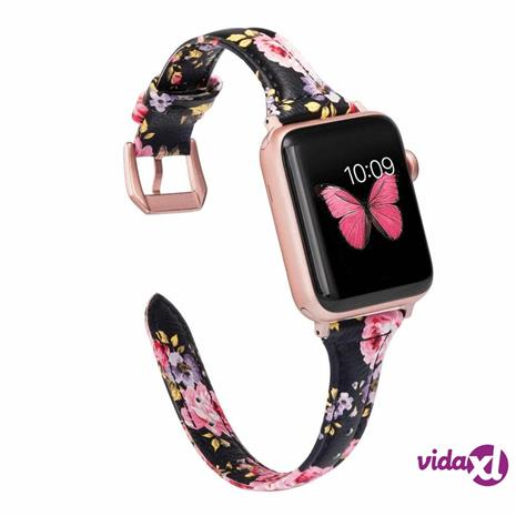 INF Apple Watch -rannekoru 38 mm aitoa nahkaa - kukkakuvio