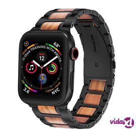 INF Apple Watch -rannekoru 42/44 mm puusta ja ruostumattomasta teräksestä