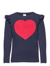 Lindex Top Heart Navy T-shirts Long-sleeved T-shirts Sininen Lindex BLUE