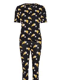 Lindex Night Set Pj Sou Julia Pyjama Musta Lindex BLACK