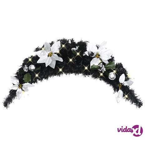 vidaXL Joulukaari LED-valoilla musta 90 cm PVC