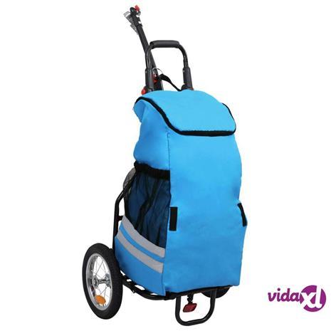 vidaXL Taitettava polkupyörän peräkärry ruokakassilla sininen/musta