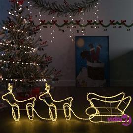 vidaXL Porot ja reki joulukoriste ulkokäyttöön 576 LED-valoa