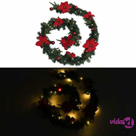 vidaXL Jouluköynnös LED-valoilla vihreä 2,7 m PVC