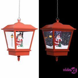 vidaXL Riippuva valaisin LED-valolla ja joulupukilla pun. 27x27x45 cm