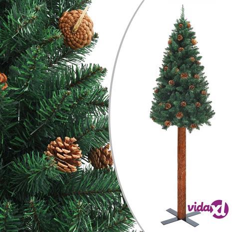 vidaXL Kapea joulukuusi aidolla puulla ja kävyillä vihreä 210 cm PVC