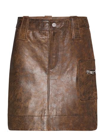 Ganni Washed Leather Lyhyt Hame Ruskea Ganni COGNAC