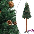 vidaXL Kapea joulukuusi aidolla puulla ja kävyillä vihreä 180 cm PVC
