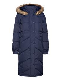 GAP Jac Long Down Jacket W/ Fur Topattu Pitkä Takki Sininen GAP NAVY UNIFORM, Naisten ulkovaatteet