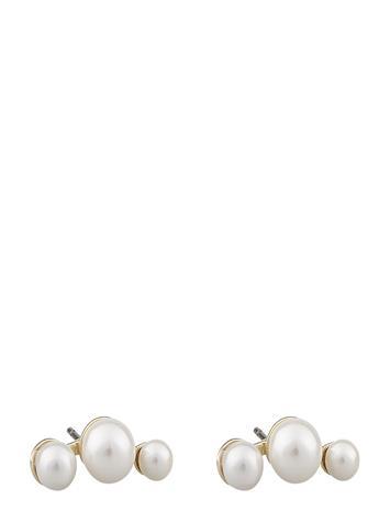 SNä– of Sweden Grass Small Pearl Ear G/White Accessories Jewellery Earrings Studs Kulta SNä– Of Sweden G/WHITE
