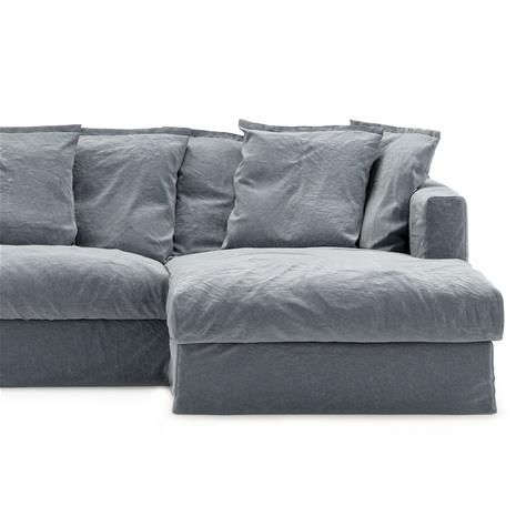 Decotique Le Grand Air Upholstery 3-Seater Divan Right Linen, Dusky Gloom