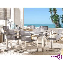 Beliani Puutarhapöytäryhmä - pöytä tammipuutasolla 180 cm ja 6 harmaata tuolia
