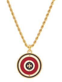 Tory Burch Milgrain Logo Spinner Necklace Accessories Jewellery Necklaces Statement Necklaces Kulta Tory Burch ROLLED BRASS / ROYAL NAVY / REDSTONE