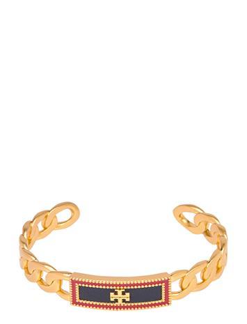 Tory Burch Milgrain Logo Leather Cuff Accessories Jewellery Bracelets Bangles Kulta Tory Burch ROLLED BRASS / ROYAL NAVY / REDSTONE