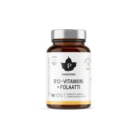 Puhdistamo B12-vitamiini + Folaatti Vadelma 60 kaps. ravintolisä