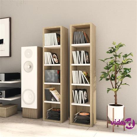 vidaXL CD-hyllyt 2 kpl valkoinen/Sonoma-tammi 21x16x93,5 cm lastulevy