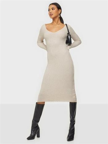 Parisian V Neck Rib Knitted Midi Dress Beige
