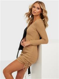 Parisian Rib Knit Rouched Midi Dress