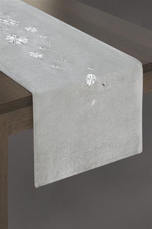 Rene-pöytäliina, hopea, 33 x 180 cm
