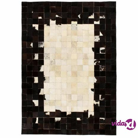 vidaXL Matto aitoa nahkaa tilkkutyö 120x170 cm neliö musta/valkoinen