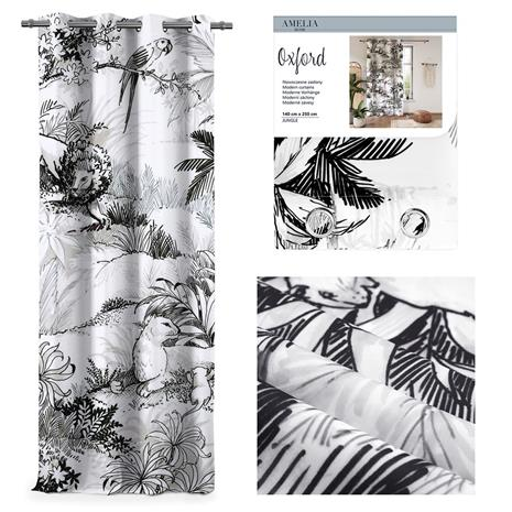 AmeliaHome Oxford Jungle -verho 140 x 250 cm, 1 kpl