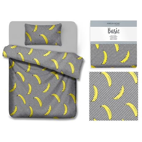 AmeliaHome Banana -pussilakanasetti, 135 x 200 cm + tyynyliina 80 x 80 cm