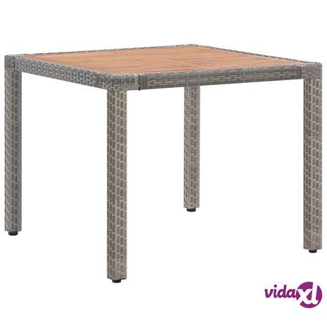 vidaXL Puutarhapöytä harmaa 90x90x75 cm polyrottinki ja akaasiapuu