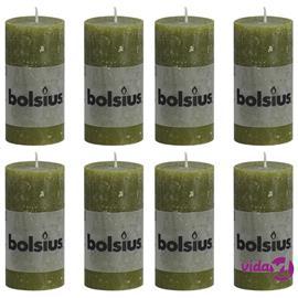 Bolsius Pilarikynttilät 8 kpl rustiikkinen 100x50 mm oliivi