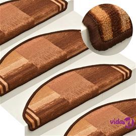 vidaXL Itsekiinnittyvät porrasmatot 15 kpl ruskea 65x21x4 cm