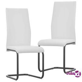 vidaXL Takajalattomat ruokapöydän tuolit 2 kpl valkoinen keinonahka