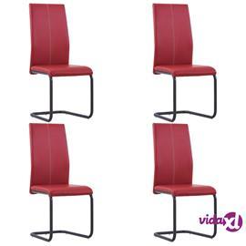 vidaXL Takajalattomat ruokapöydän tuolit 4 kpl punainen keinonahka