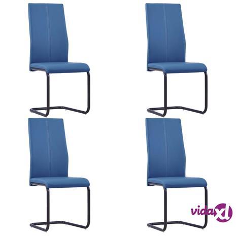vidaXL Takajalattomat ruokapöydän tuolit 4 kpl sininen keinonahka