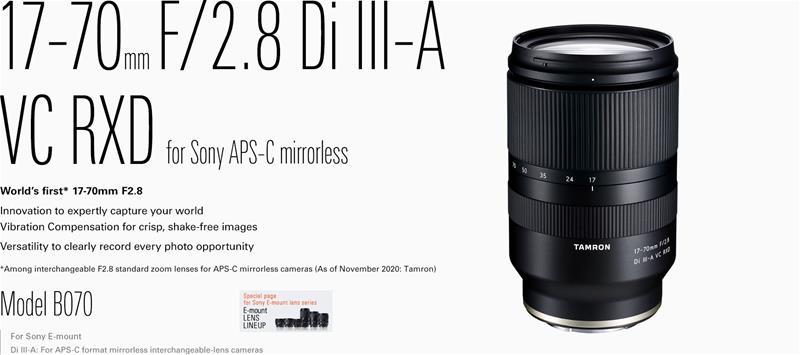 Tamron 17-70mm f/2,8 DI III-A VC RXD (Sony E), objektiivi